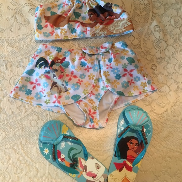 Disney Other - Kids Disney Moana swimsuits  & sandals